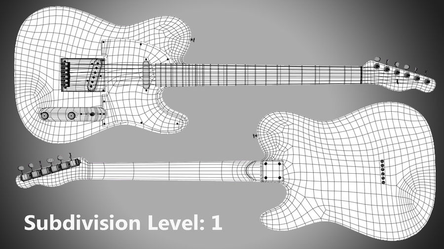 Fender Telecaster 1966 royalty-free 3d model - Preview no. 10