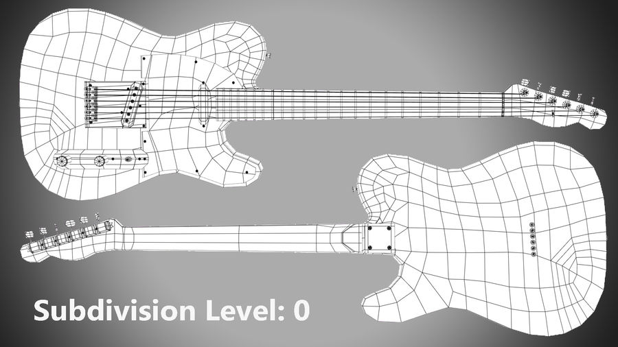 Fender Telecaster 1966 royalty-free 3d model - Preview no. 9