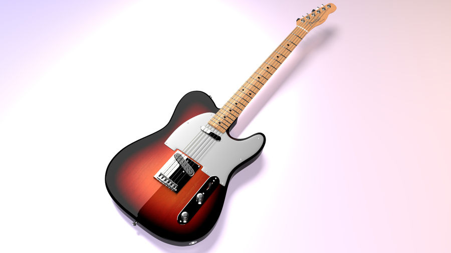 Fender Telecaster 1966 royalty-free 3d model - Preview no. 2
