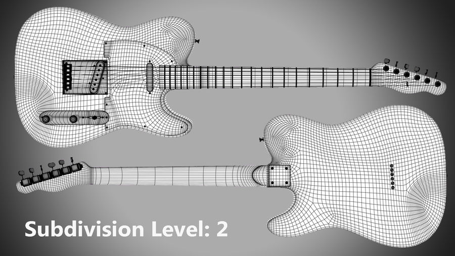 Fender Telecaster 1966 royalty-free 3d model - Preview no. 11