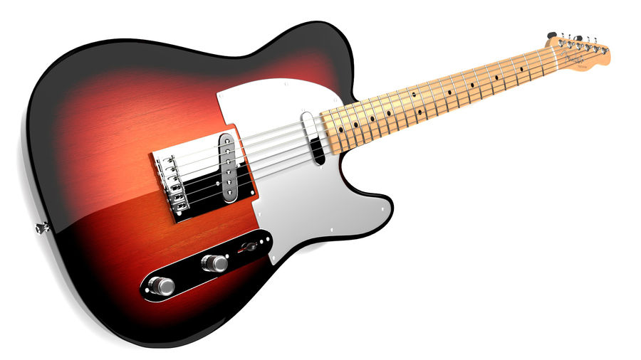 Fender Telecaster 1966 royalty-free 3d model - Preview no. 4