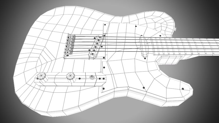 Fender Telecaster 1966 royalty-free 3d model - Preview no. 12