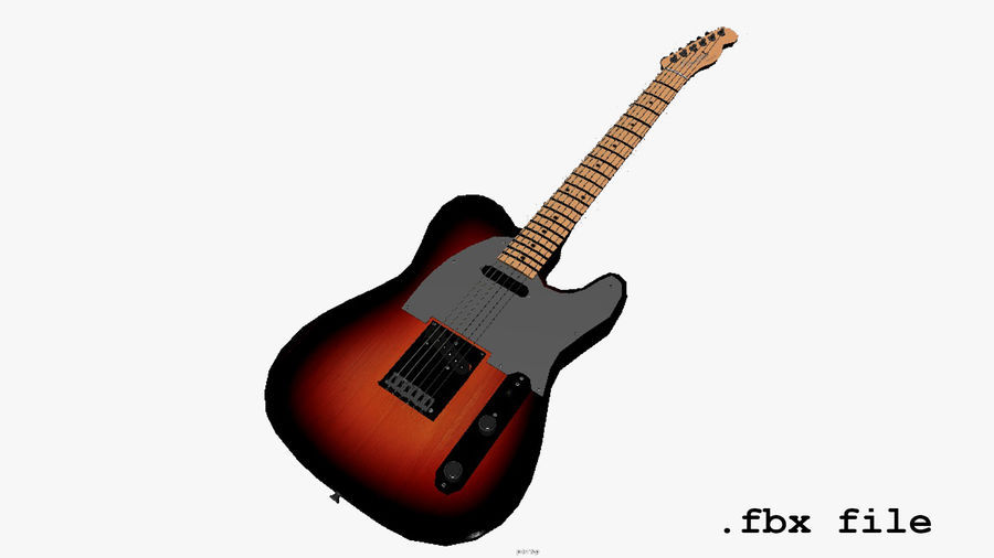 Fender Telecaster 1966 royalty-free 3d model - Preview no. 7