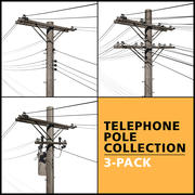 Telephone Pole Collection 3d model