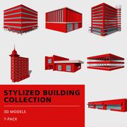 Sammlung stilisierter Gebäude 3d model