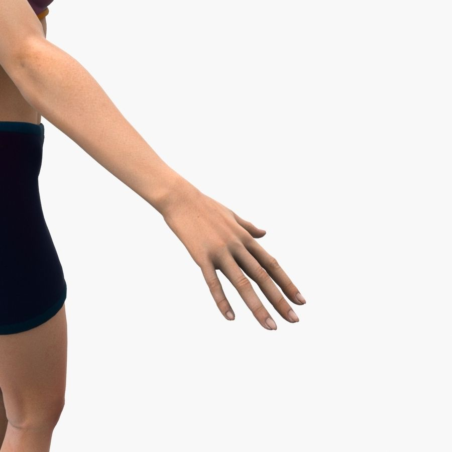 Athlète femme truquée royalty-free 3d model - Preview no. 9