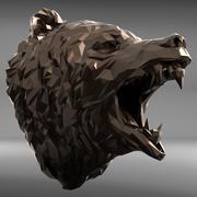 urso cabeça poligonal 1 3d model