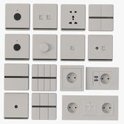 Coswall Krst Detail Photorealistic Modular Range Switches & Wall Sockets Set 3d model