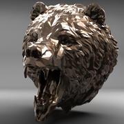 Głowa niedźwiedzia wielokąta 2 3d model