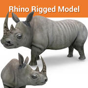 Rhino Rigged Low poly modelo 3d