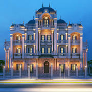 Villa clássica noite tiro 3d model
