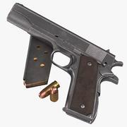 콜트 M1911 권총 잡지 및 총알 3d model