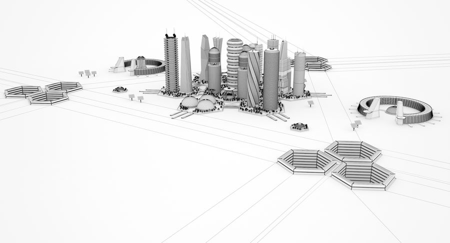 Sci Fi City royalty-free 3d model - Preview no. 13