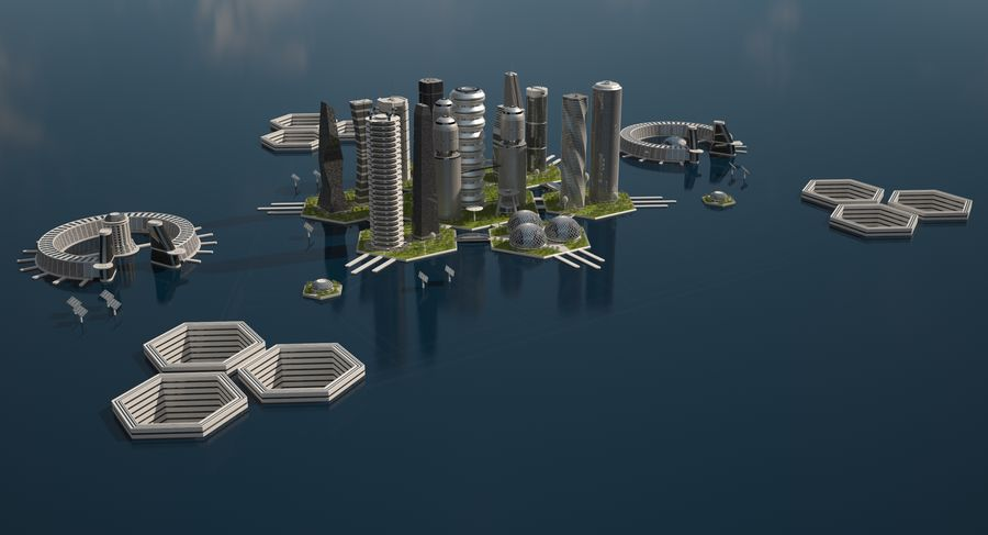 Sci Fi City royalty-free 3d model - Preview no. 3
