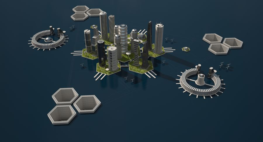 Sci Fi City royalty-free 3d model - Preview no. 5