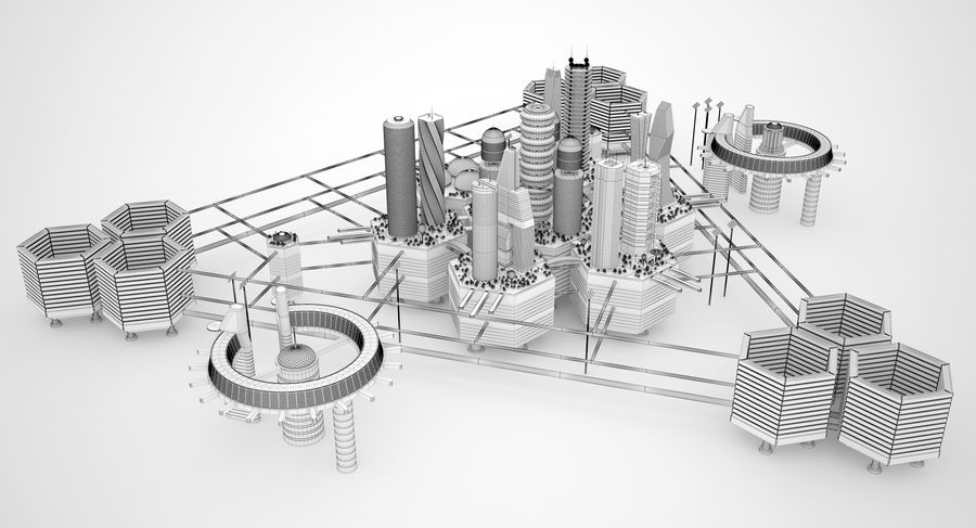 Sci Fi City royalty-free 3d model - Preview no. 16