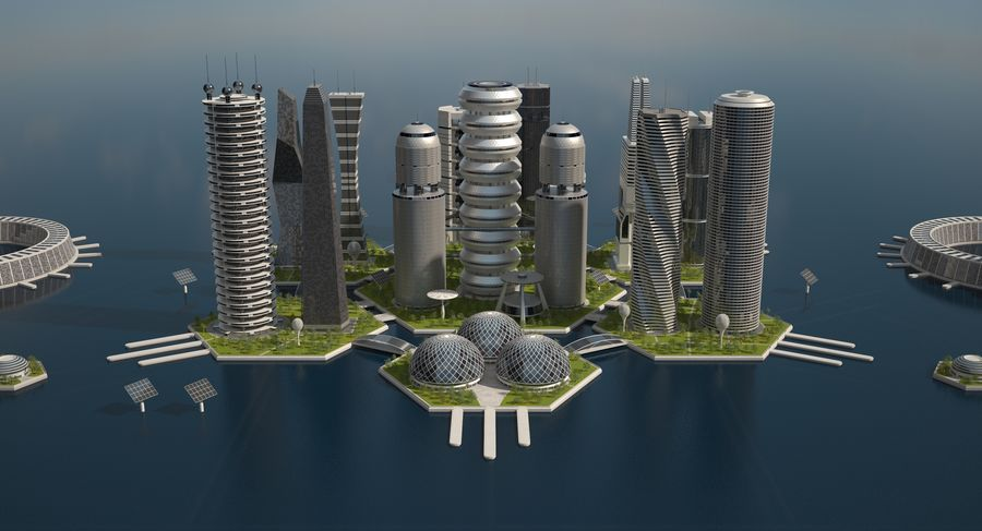 Sci Fi City royalty-free 3d model - Preview no. 10