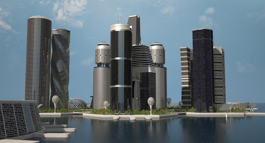 Sci Fi City royalty-free 3d model - Preview no. 8