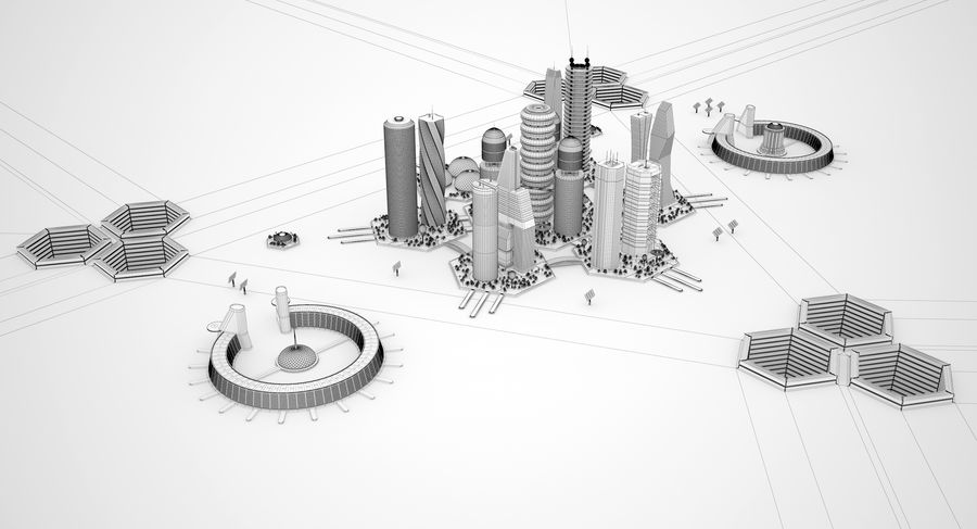 Sci Fi City royalty-free 3d model - Preview no. 15