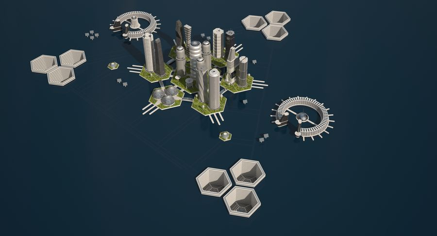 Sci Fi City royalty-free 3d model - Preview no. 6