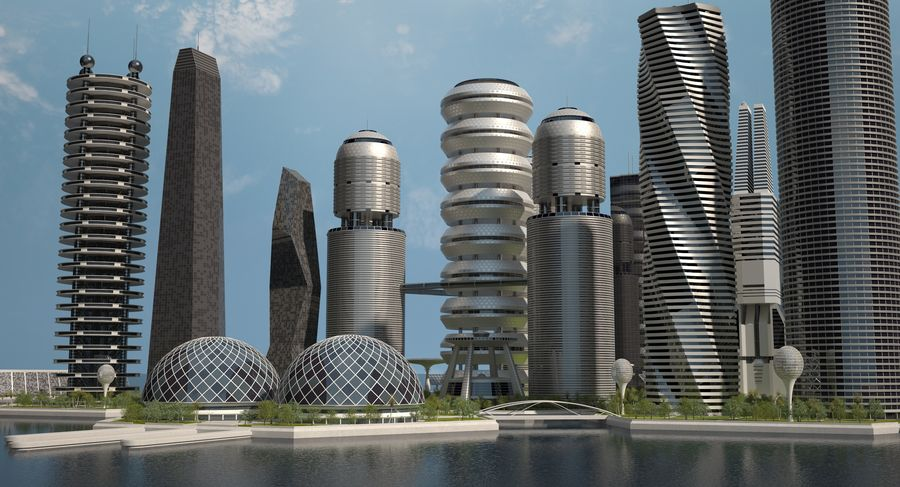 Sci Fi City royalty-free 3d model - Preview no. 11