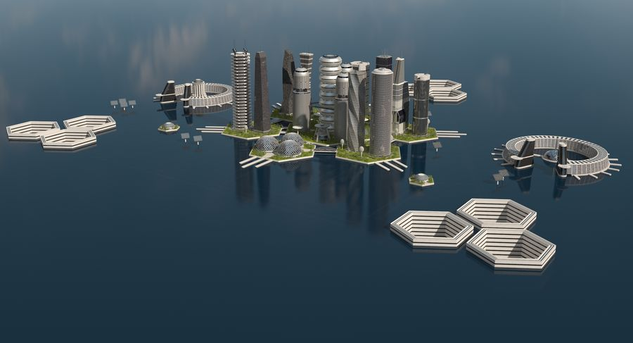 Sci Fi City royalty-free 3d model - Preview no. 4