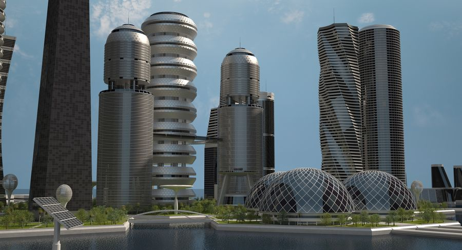 Sci Fi City royalty-free 3d model - Preview no. 9