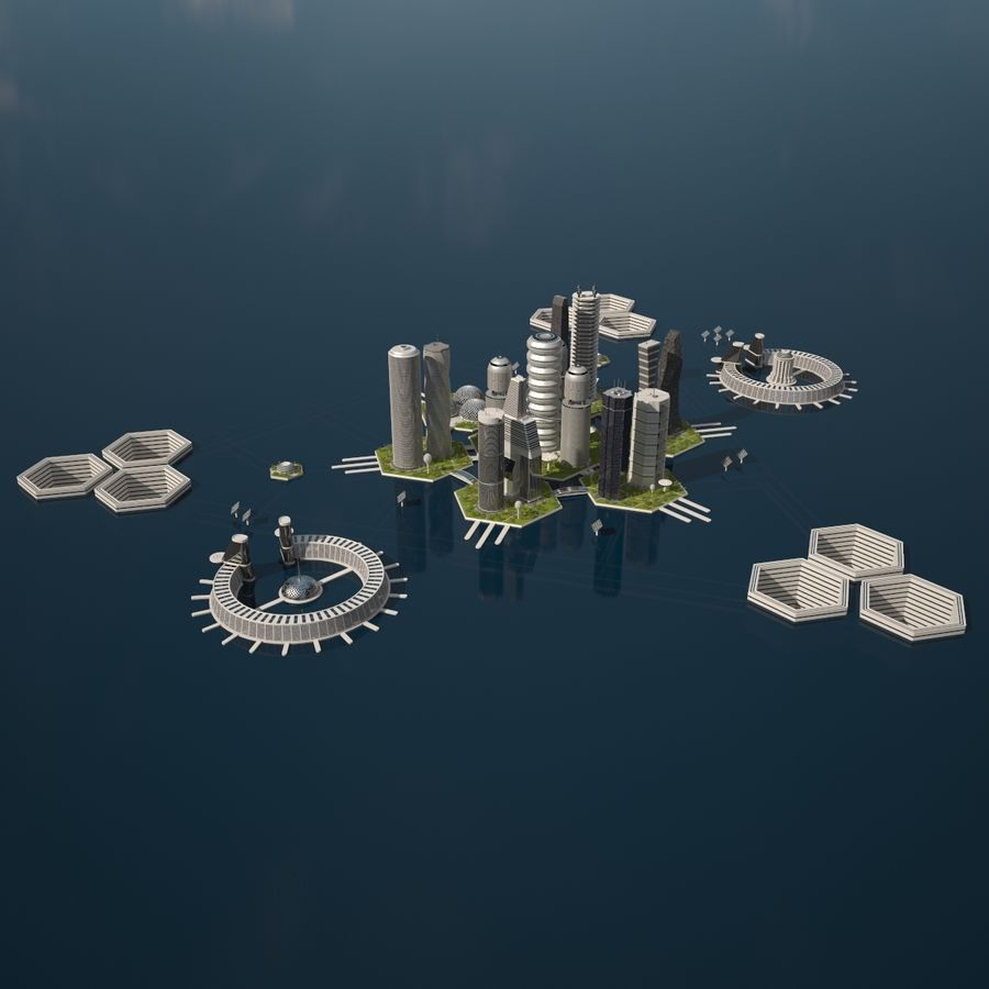 Sci Fi City royalty-free 3d model - Preview no. 1
