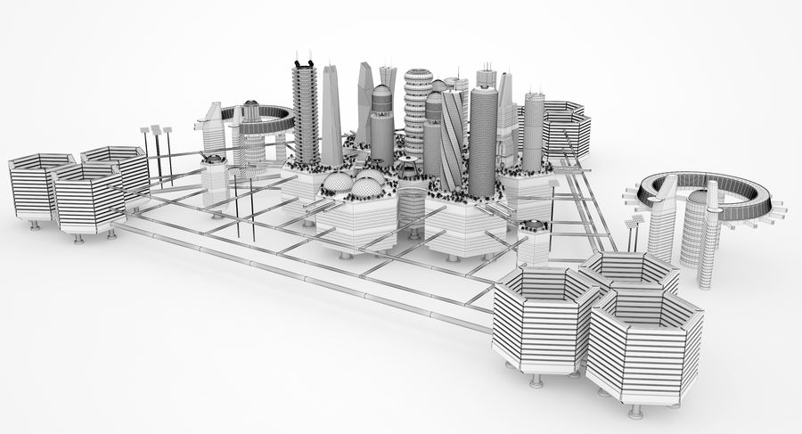 Sci Fi City royalty-free 3d model - Preview no. 14