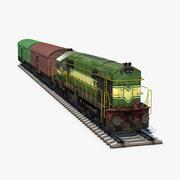 Locomotiva a diesel e vagão 3d model