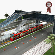 Tram and Station 3d model