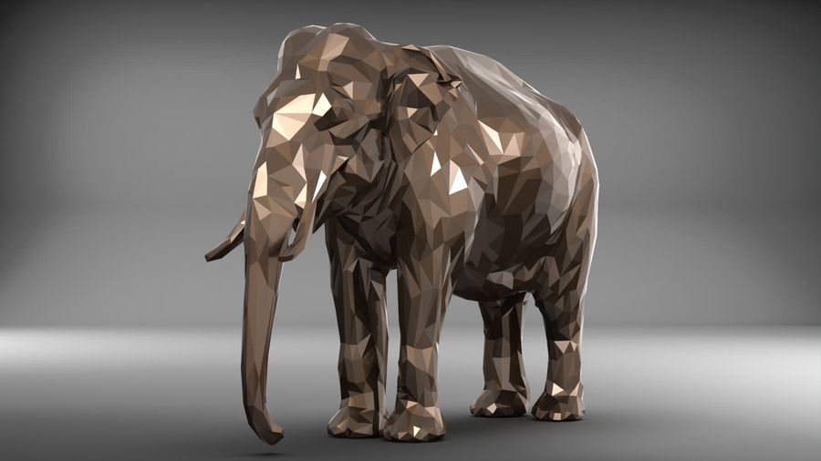 éléphant polygonal royalty-free 3d model - Preview no. 8