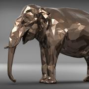elefante poligonal modelo 3d