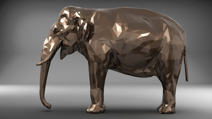 éléphant polygonal royalty-free 3d model - Preview no. 10