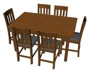 Eettafel set met stoelen 3d model