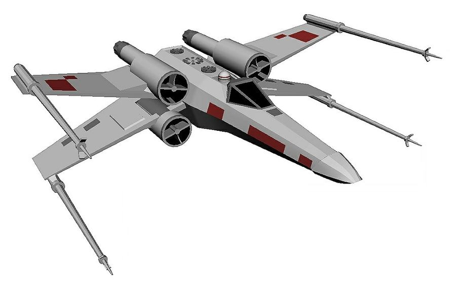 x-wing fighter royalty-free 3d model - Preview no. 1