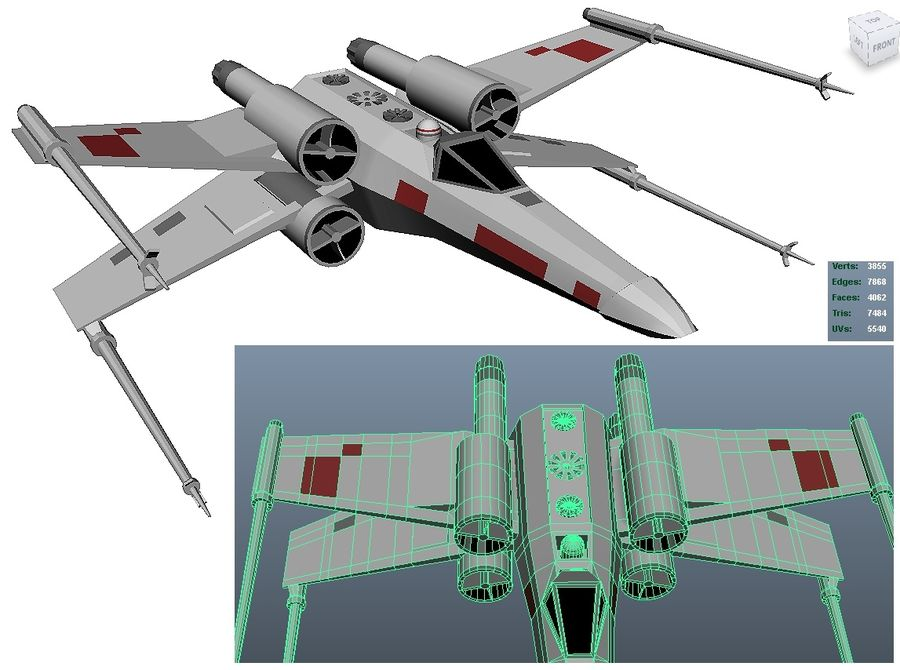 x-wing fighter royalty-free 3d model - Preview no. 2