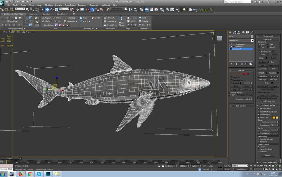 squalo truccato animato royalty-free 3d model - Preview no. 9