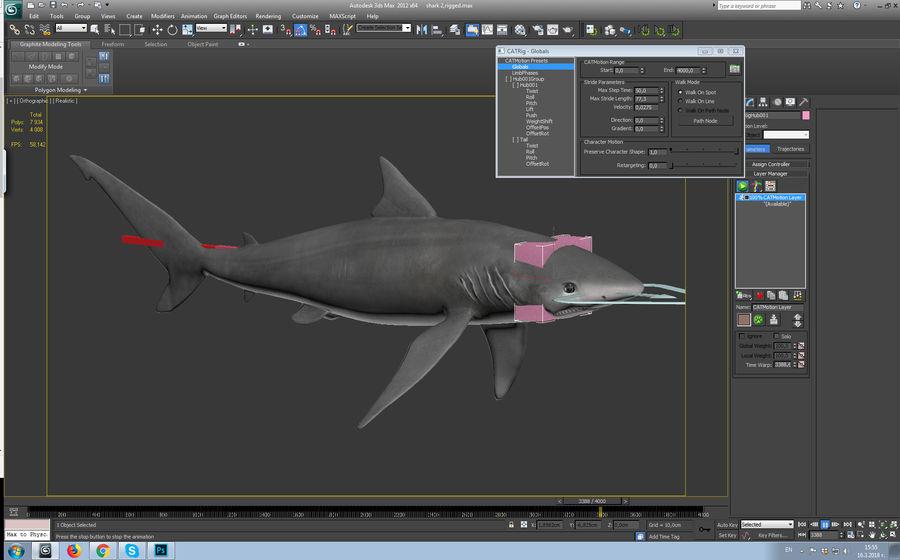 squalo truccato animato royalty-free 3d model - Preview no. 3