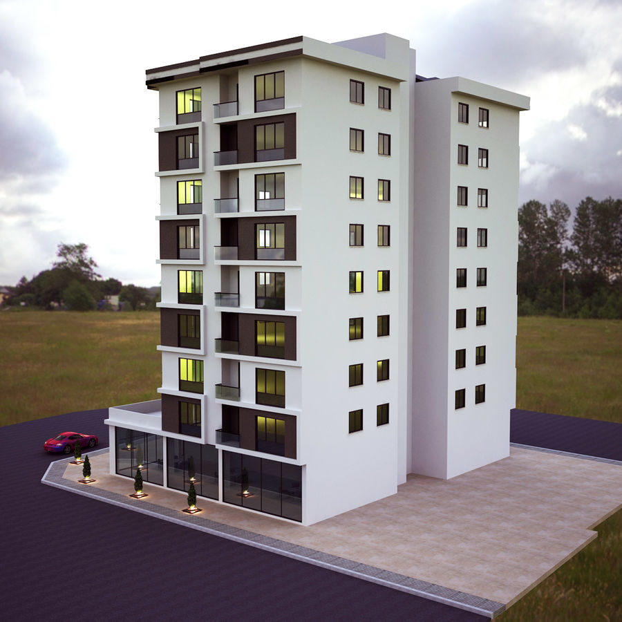Building Exterior Architecture royalty-free 3d model - Preview no. 4