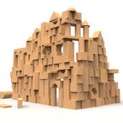 Le château des blocs de bois 3d model