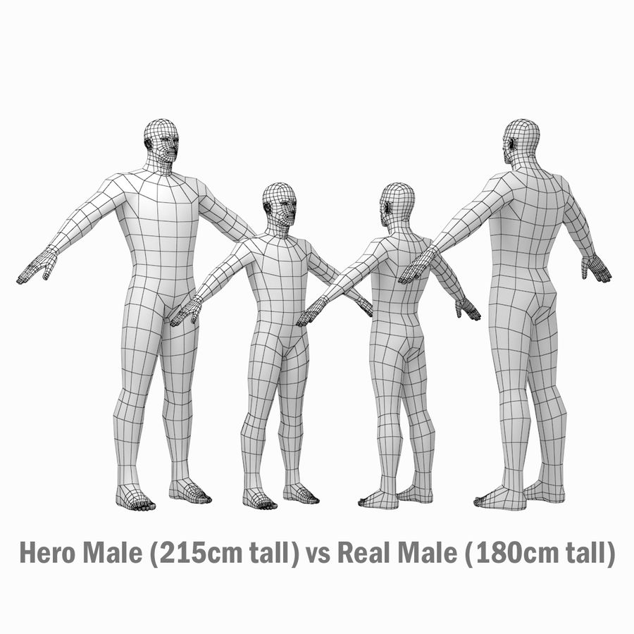 Male Hero Base Mesh in A-Pose royalty-free 3d model - Preview no. 12