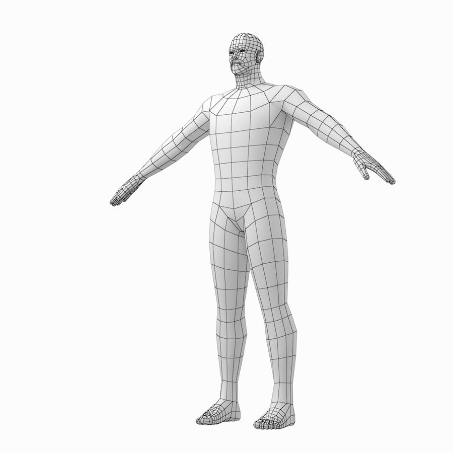 Male Hero Base Mesh in A-Pose royalty-free 3d model - Preview no. 10