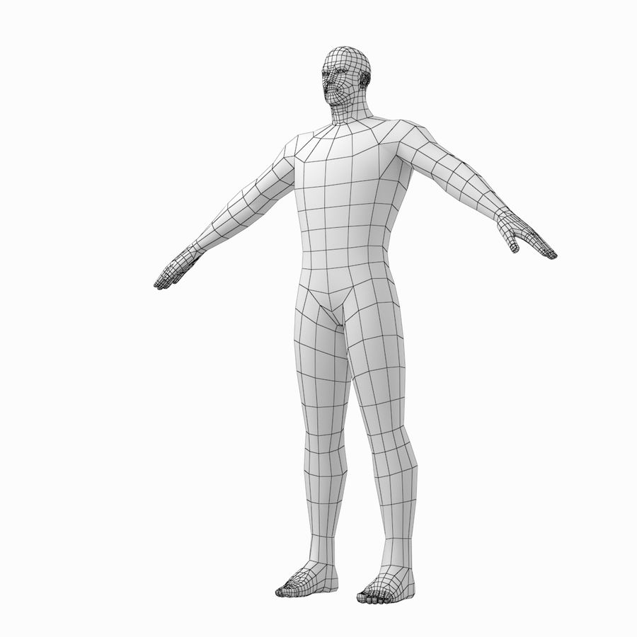 Male Hero Base Mesh in A-Pose royalty-free 3d model - Preview no. 11