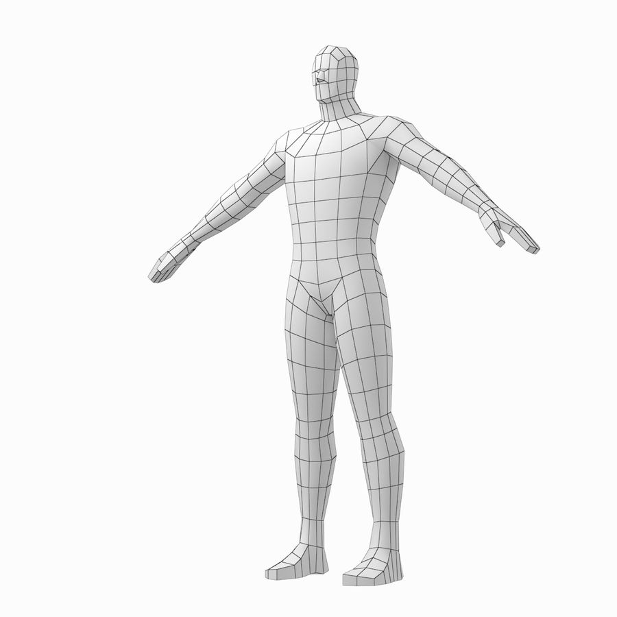 Male Hero Base Mesh in A-Pose royalty-free 3d model - Preview no. 7