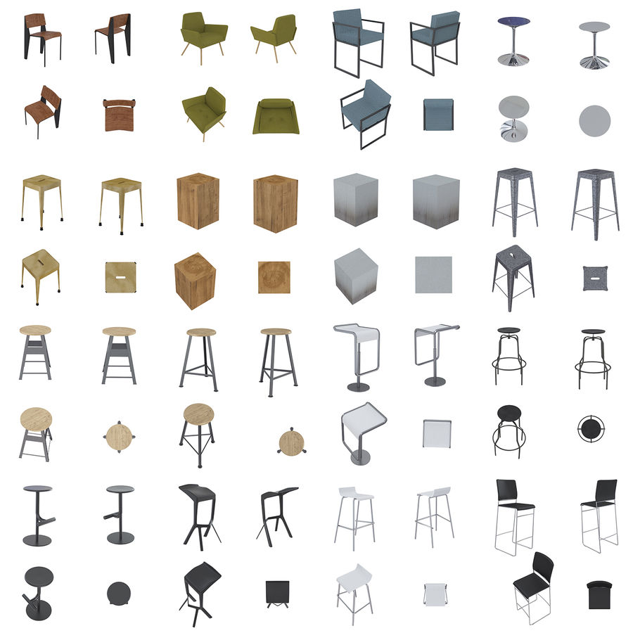 Barkrukken en stoelen royalty-free 3d model - Preview no. 2