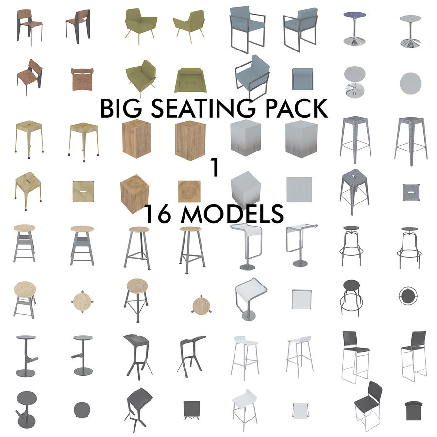 Barkrukken en stoelen royalty-free 3d model - Preview no. 1