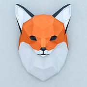Polygonal paper fox 3d model