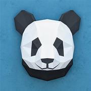 Panda en papier polygonal 3d model