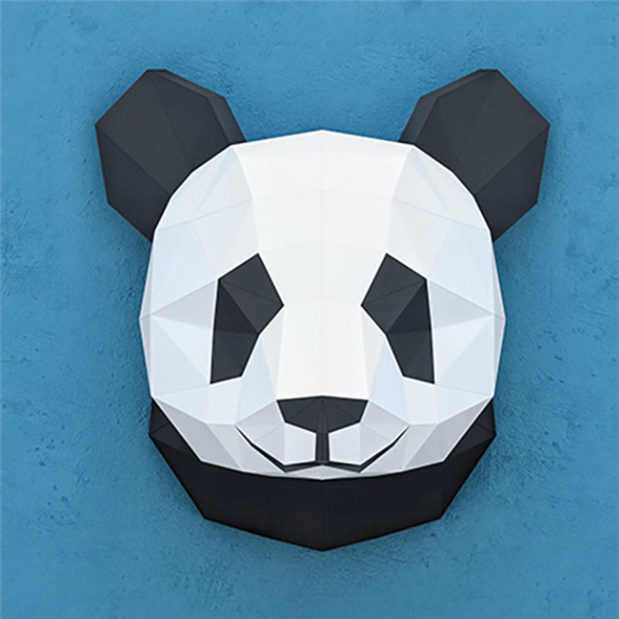 多边形纸熊猫 royalty-free 3d model - Preview no. 1